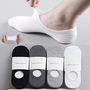 5Pair / Los Arbeiten Glückliche Männer Boots-Socken-Sommer-Herbst Anti-Rutsch-Silikon-unsichtbare Cotton Socken männlich Söckchen Pantoffel Meia