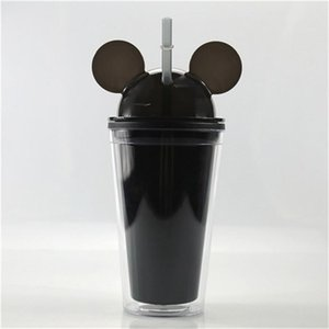 15oz Acrylic Tumbler Mouse Acrylic Travel Cup with straws Juice Wine Glass Kids Baby Cartoon Cute Plastic Tumbler in stock