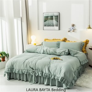 """Fırfır Kız """"ın Ev beding 4 adet Setleri Koreli Dantel pamuk yataklar Tatlı Sarı Nevresim Çarşaf Yastık Nevresim Kraliçe Kral Boyutu set"""