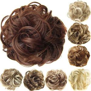 패션 여성 물결 모양의 곱슬 지저분한 머리 롤빵 합성 탄성 헤어 타이 확장 슈슈 헤어 피스 밴드 Chignon 가발
