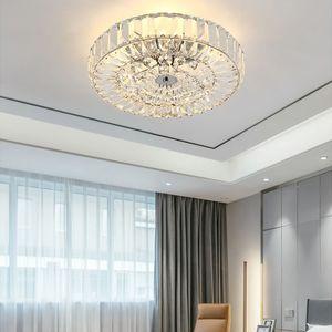 Современная роскошная хрустальная люстра потолочные светильники поверхностного монтажа хромированные люстры освещение круглые светодиодные потолочные светильники для спальни прихожей