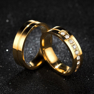 Gold Stainless Steel Groove Ring Crystal Rings Engagement Wedding Rings Band Ring Men women Fashion Jewelry Will and Sandy drop Ship