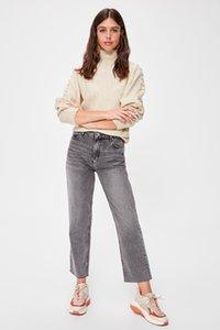 Trendyol-Flushing Yüksek Bel Düz Jeans TWOAW20JE0143