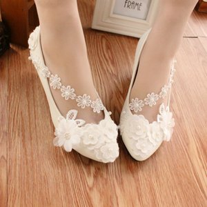 2019 white anklet flowers bridesmaids shoes high-heel photo portrait wedding dress shoes low-heeled pearl wedding girl
