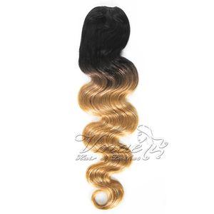 VMAE Brasilianische 12 bis 26 Zoll 1B 27 Two Tone Blonde Ombre Farbe 120g Körper-Wellen-Schnür Ponytail Virgin Menschenhaar-Verlängerung