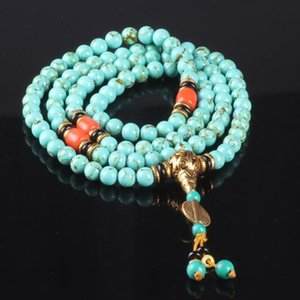 Sennier 8mm 108 Natural Beads Bracelet Tibetan Buddhist Prayer Rosary Bracelets Bangles Women Green Stone Necklace J190722