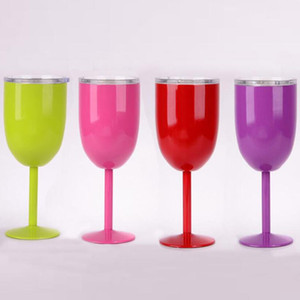 10oz Goblet Colorful Vacuum Stainless Steel Cocktail Glass Wine Creative Winecup Durable Glass Goblet with Lid Drinking Ware Glass with box