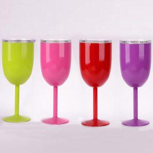 10 أوقية القدح الملونة فراغ المقاوم للصدأ كوكتيل زجاج النبيذ الإبداعية كأس الزجاج winecup المعمرة مع غطاء الشرب وير الزجاج مع مربع