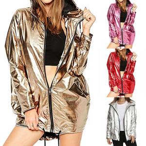 سترة نسائية جديدة الأزياء معطف طويل الأكمام معطف واق من المطر PVC سحاب فاسق محايدة ظلة ماء بارد فضفاض المعاطف أعلى