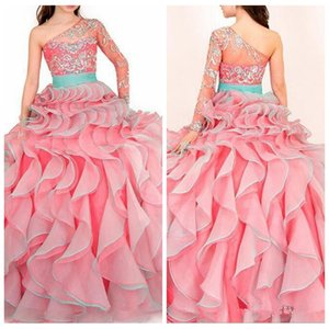 Sheer One Shoulder Beaded Crystal Ball Gowns Girls Pageant dresses Bling Bling Crystal Beaded Ruffles