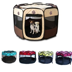 Pet Dog Playpen Tent Crate Room Foldable Puppy Exercise Cat Cage Waterproof Outdoor Two Door Mesh Shade Cover Nest Kennel