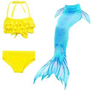 2019 Niñas Niños Colas de la sirena para la natación del traje de Cosplay Sirenita de Halloween del traje de baño del bikini fiesta en la piscina de baño traje de baño