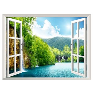 New Mountain River Landscape False Window Wall Living Room Children's Room Bedroom Corridor Environmental Protection Decorative Painting