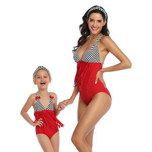 Parent calda del bambino Swimwear Madre Figlia Bikini Swimsuit nappa Bikini Swimsuit padre-figlio familiari Vestiti uguali in un unico pezzo