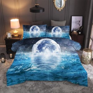 Fashion 2 or 3pcs Bedding Set 3d Digital Sea and Beach Printing Duvet Cover Sets 1 Quilt Cover + 1 2 Pillowcases US EU AU Size