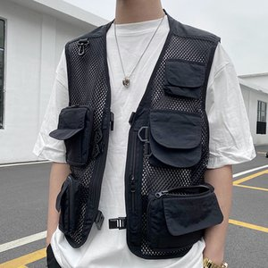 Nuevo Streetwear malla Multi-bolsillos del chaleco de los hombres y mujeres sueltan el cuello en V sin mangas de gran tamaño de Hip Hop de la chaqueta del chaleco sólido Casual