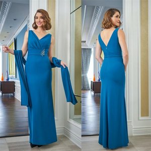 Elegant Mermaid Mother Of The Bride Dresses With Wrap V-neck Sleeveless Satin Wedding Guest Dress Floor-length Evening Party Gowns