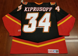 Atacado # 34 Cavalo Calgary Flames baratos CCM Hockey Jersey Terceiro Preto Mens Retro Jerseys Mika Kiprusoff Vintage