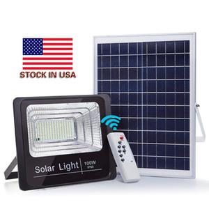 На складе В США + Солнечный Прожектор 10 Вт 40 Вт 60 Вт 100 Вт Открытый Прожекторы IP65 Прожектор Прожектор Солнечный Светодиодный Прожектор Наружные Стены
