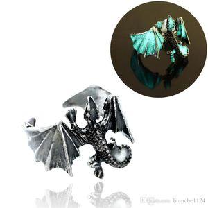4 Colors Retro Creative Luminous Men's Ring Pterosaur Night Glow Open Adjustable Rings Fashion Jewelry Accessories Wholesale