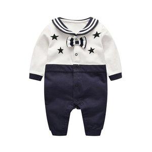 الاطفال ملابس الاطفال رومبير فتاة فتى البحرية التعادل تصميم رومبير اللباس كم طويل رومبير ملابس أطفال