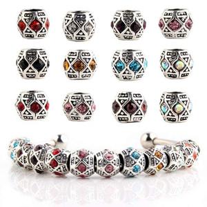 Серебро 925 шарма европейских Амулеты Циркон кристаллов шарик подходящего Пандор змей цепь браслеты мода DIY ювелирных изделия