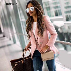 CROPKOP Ufficio Blazer Donna Autunno manica lunga classico Office Small cappotti signore Doppio Petto Rosa Abbigliamento Work Suit Giacche LY191123