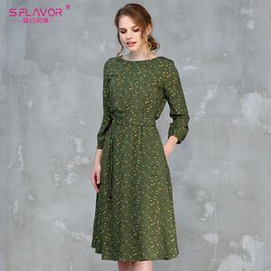 Southpire mujeres del vestido ocasional de 2020 del O-cuello de la manga 3/4 vestidos de verano de mujeres de impresión de una línea Vestidos de Midi