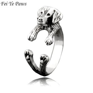 Fei Ye Paws Retro Punk Labrador Retriever Dog Wrap Rings For Women Anel Midi Finger Animal Pet Puppy Ring Men Friends Jewelry