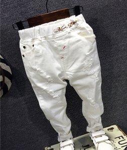 Дети Сломанные Hole Брюки Брюки +2018 мальчиков Джинсы Марка Мода осень 2-7Y белые Детские брюки Детская одежда AQ811