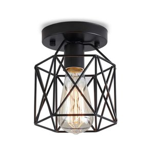 Retro Vintage Industrial Rustic Flush Mount Ceiling Light Metal Cage Lamp Shade E26 E27 Pendant Light For Hallway Bedroom