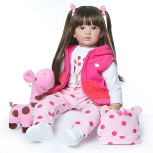 Grand Reborn Doll en vinyle souple en silicone souple en silicone 60 cm Reborn Baby Doll nouveau-né Lifelike Bebes DollsToys cadeau Réincarné enfants