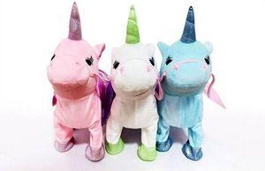 Leash bonito Unicorn Flying Horse boneca pode andar pode cantar Dragão elétrica Cavalo Plush Doll Para Poni Unicorn cavalo Toy Plush