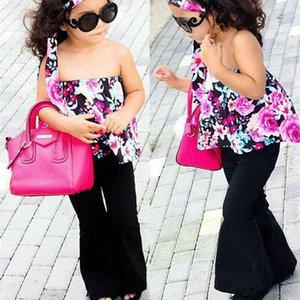 3PCS Kız Bebek Çocuk Giyim Giyim Summer Rose + Kafa tişört Tops + Pantolon yazdır