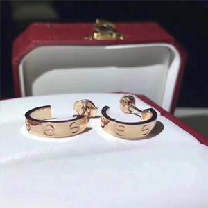 Lüks Tasarımcı Takı Kadınlar Küpe Moda saplama Küpe Düğün Takı 316L Titanyum Çelik Gümüş Rose Gold Küpe