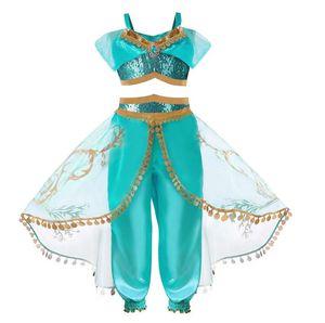 Girls Aladdin's Lamp Jasmine Belly Dance Cosplay Costumes Girls Princess Christmas Dresses Kids Halloween Clothes For Children