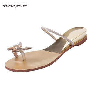 Fata farfalla strass fibbia Toe piatto del pattino del pistone della parte inferiore piana Slope Beach sandali femminili Zapatos De Mujer Silver Gold