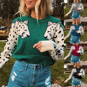 Las nuevas mujeres suéteres de leopardo patrón de punto suéteres de manga larga Tops Mujer Otoño Invierno Puente Jerseys