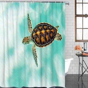 귀여운 거북이 블루 그린 인쇄 샤워 커튼 욕실 장식 방수 직물 목욕 커튼 친환경 샤워