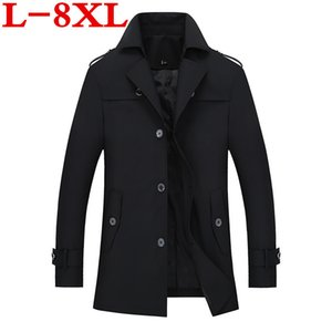 8XL plus size Spring Mens Trench Coat Slim Fit Long Coats Men British Style Business Outwear High Quality Classic Windbreaker