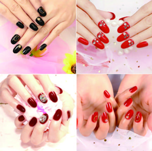 24Pcs set Fake Full Finger Nails Fashion Design Acrylic False Nail Tips with Glue Sticker for Lady Home&Office for summer Natural Nail Art