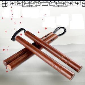 Atacado-Nunchakus Aço Inoxidável Rosewood Autodefesa combate real Nunchakus Combo prateado Laser Embossed Lettering Nunchucks Stick