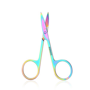 Colorful Chameleon Curved Head Eyebrow Scissors Eyebrow Manicure Scissors Cutter Nail Makeup Tool Eyebrow Scissor