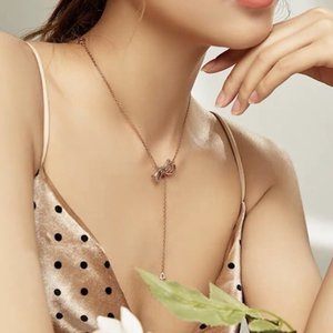 New arrival bowknot necklace female clavicle chain Korean version of simple personality drop pendant rose gold jewelry summer seaside