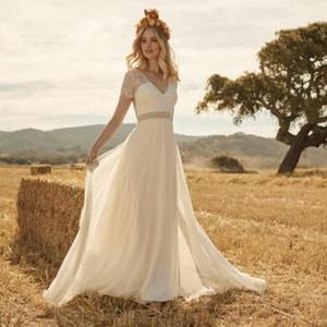 A-ligne de robe de mariée vintage en dentelle Appliqued col en V Pays Plage Boho Robes de mariée Robes de mariée Livraison gratuite