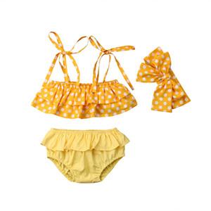 3PCS Toddler Kids Baby Girl Polka Bikini set Swimsuit Swimwear Bathing Swimming Beachwear