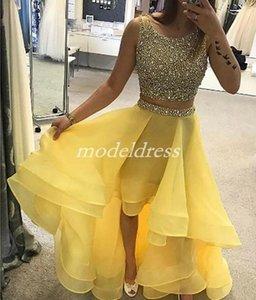 Amarelo De Cristal Alta Baixa Duas Peças Vestidos de Festa de Jóias Major Beading Cocktail Prom Vestidos Ocasião Especial Homecoming Vestido 2019