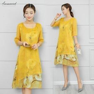 Chiffon Silk Vintage Floral Plus Size Women Casual Long Loose Summer Beach Party Dress Elegant Vestidos Clothes 2020 Dresses