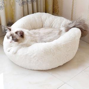 Linda forma de rosquilla Cat Nest Bed Winter Winter Cat House Cojín Camas para mascotas para perrito pequeño Sofá cama Saco de dormir Teddy House