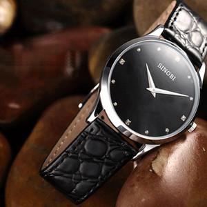 SINOBI классические часы Женщины моды Top Brand Luxury кожаный ремешок дамы часы Женева кварцевые наручные часы Relogio Feminino